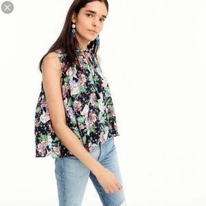 J Crew Drapey Tie Front Top in Island Floral XS